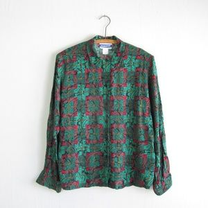 Pendleton vintage green red paisley plaid blouse